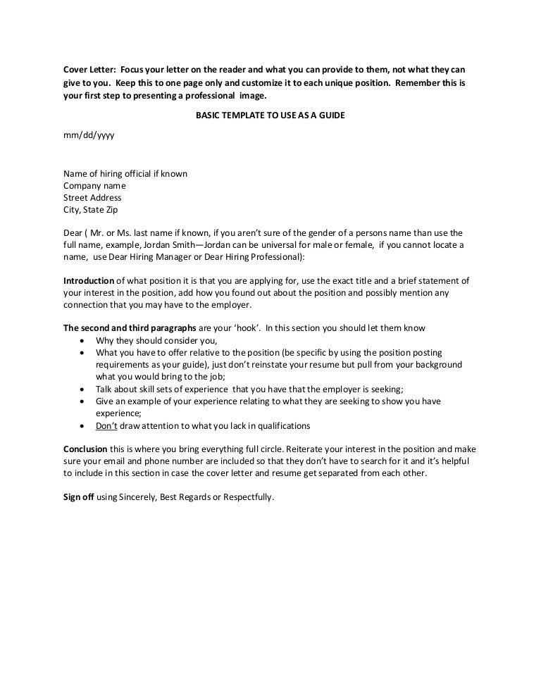 Cover Letter Basics Template
