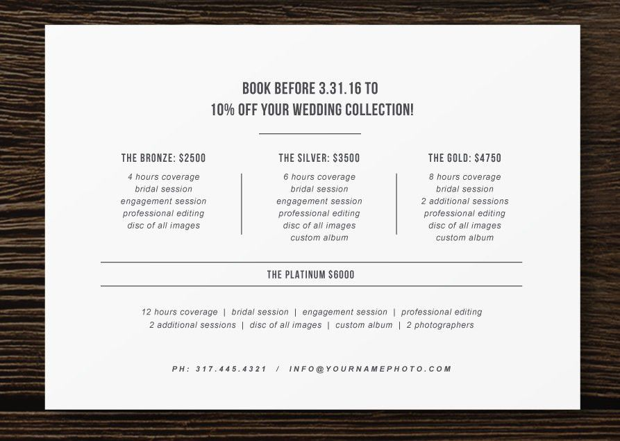 Pricing Guide Flyer Template for Photographers - Wedding ...