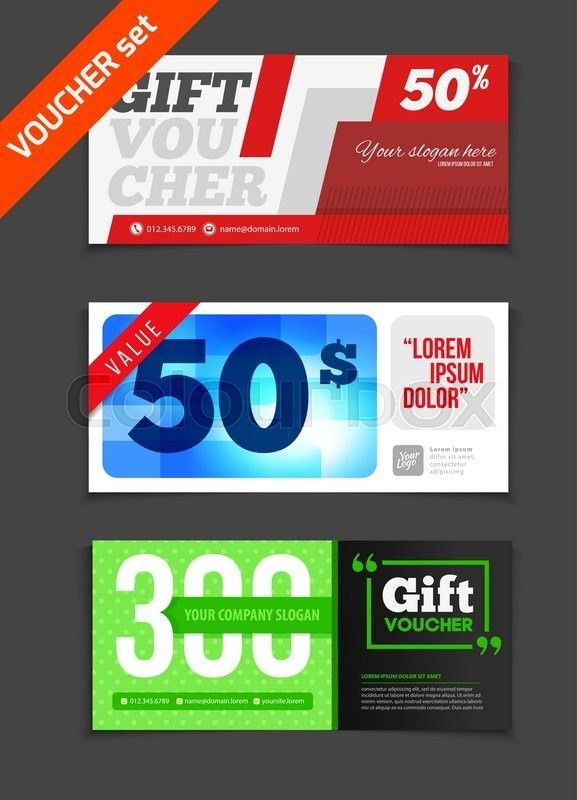 Gift voucher vector set. Sale voucher vector illustration. Store ...