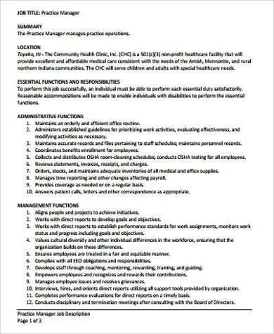 High Quality Medical Office Manager Job Description Sample   6+ Examples In .