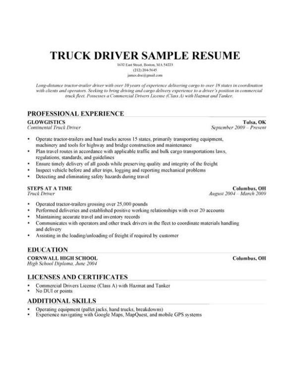 sample resume truck driver canada create professional resumes - Canadian Sample Resume