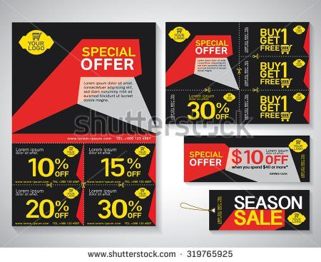Vector Flyer Brochure Promotions Coupon Banner Stock Vector ...