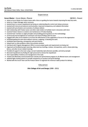 Scrum Master Resume Sample | Velvet Jobs