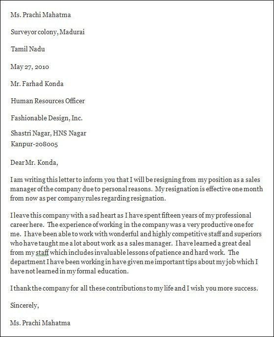 Resignation Letter Format: Sales Manager Company Sad One Month ...