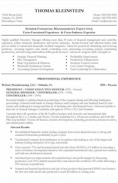 Environmental Executive Resume Example | Executive resume and ...