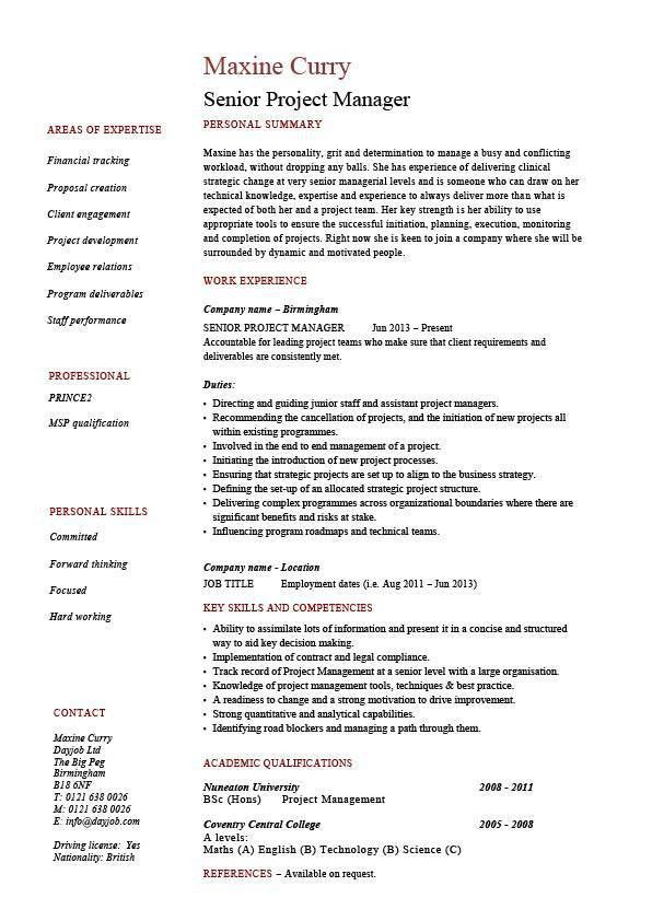 Senior project manager resume, sample, example, references, job ...