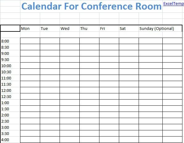 Conference Room Calendar Template | Blank Calendar Design 2017