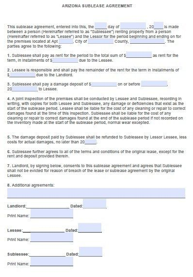 Free Arizona Sublease Agreement – PDF Template