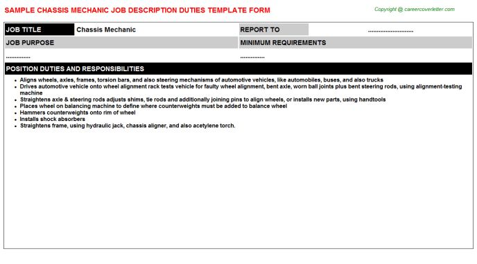 Chassis Mechanic Job Descriptions