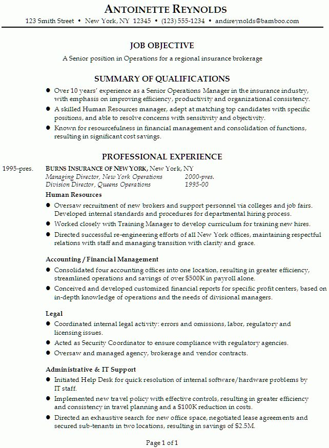 Resume for a Senior Manager of Operations - Susan Ireland Resumes