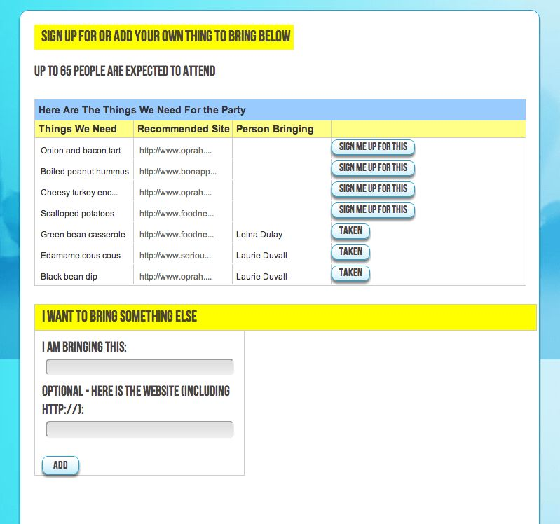 ThingToBring Blog - Potluck Sign Up Sheet IdeasThingToBring Blog ...