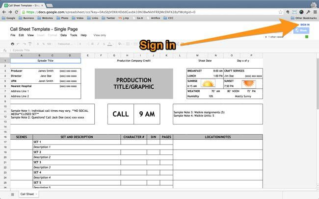 Free one page professional call sheet template