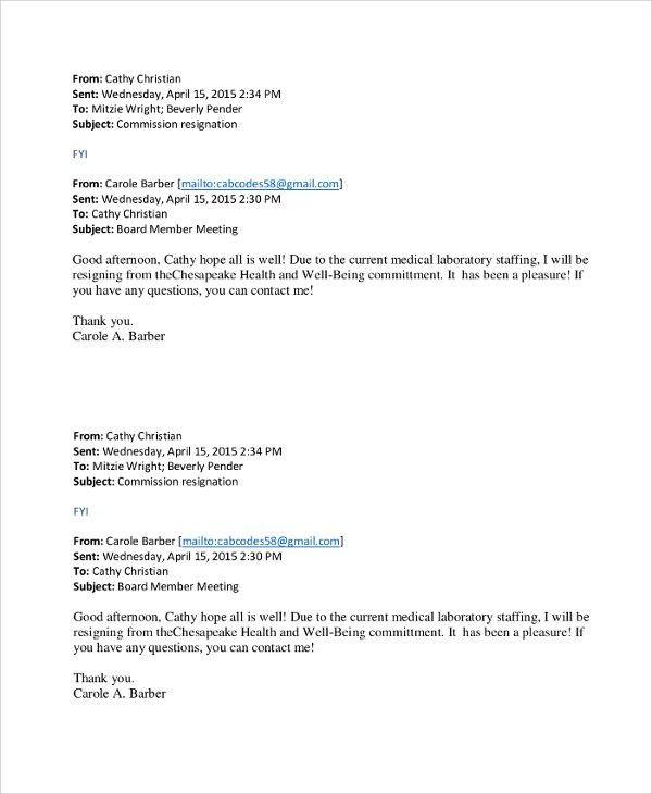 Email Resignation Letter. Email Resignation Letter Sample Sample ...