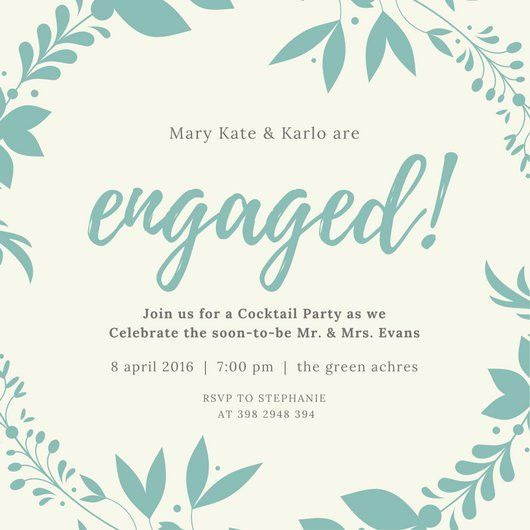 Mint Wreath Engagement Invitation - Templates by Canva