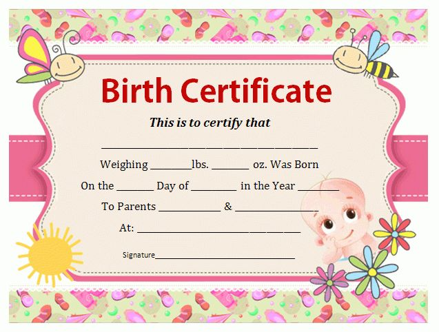 Birth Certificate Template | Office Templates Online