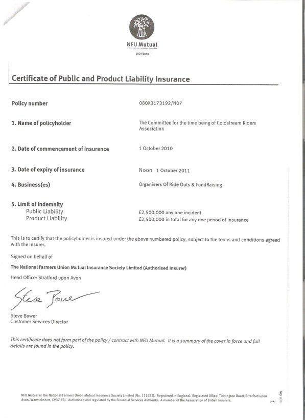 Coldstream Riders Association - Public Liability Insurance ...