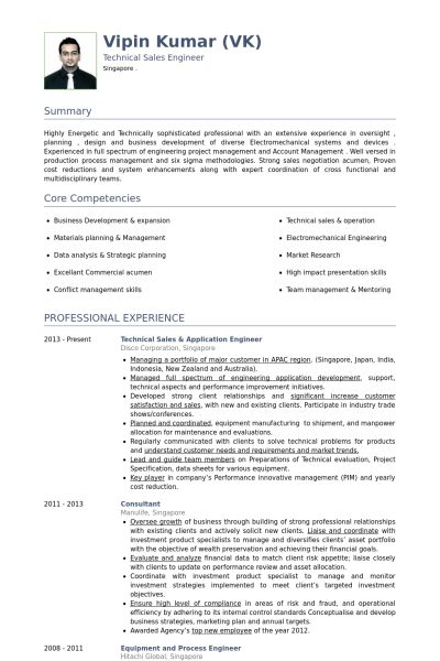 Application Engineer Resume samples - VisualCV resume samples database