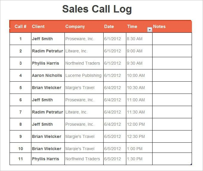 Call Log Template - 11+ Free Word, Excel, PDF Documents Download ...