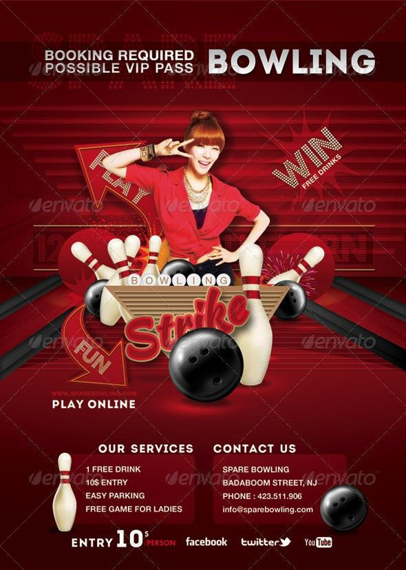 Flyer Bowling Evening Game Party by n2n44 | GraphicRiver