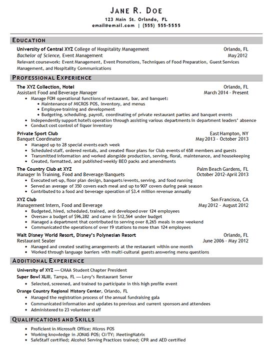 Hotel Manager Resume Example - Sample