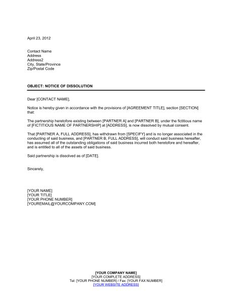 Notice of Dissolution Partnership - Template & Sample Form ...