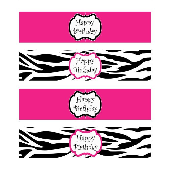 Pink and Zebra Templates Free | Zebra Diva Printable Water Bottle ...