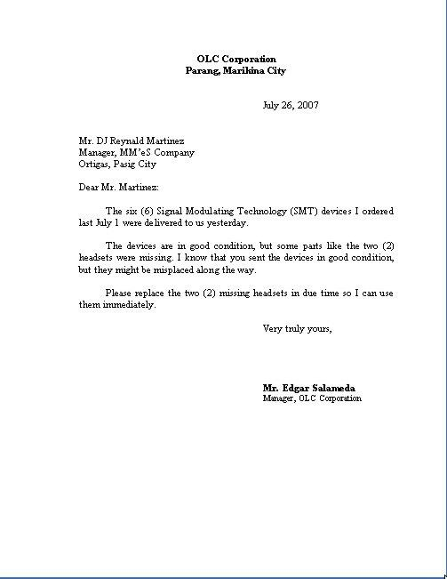 Letter Format. Business Letters Conform To Generally One Of Four ...