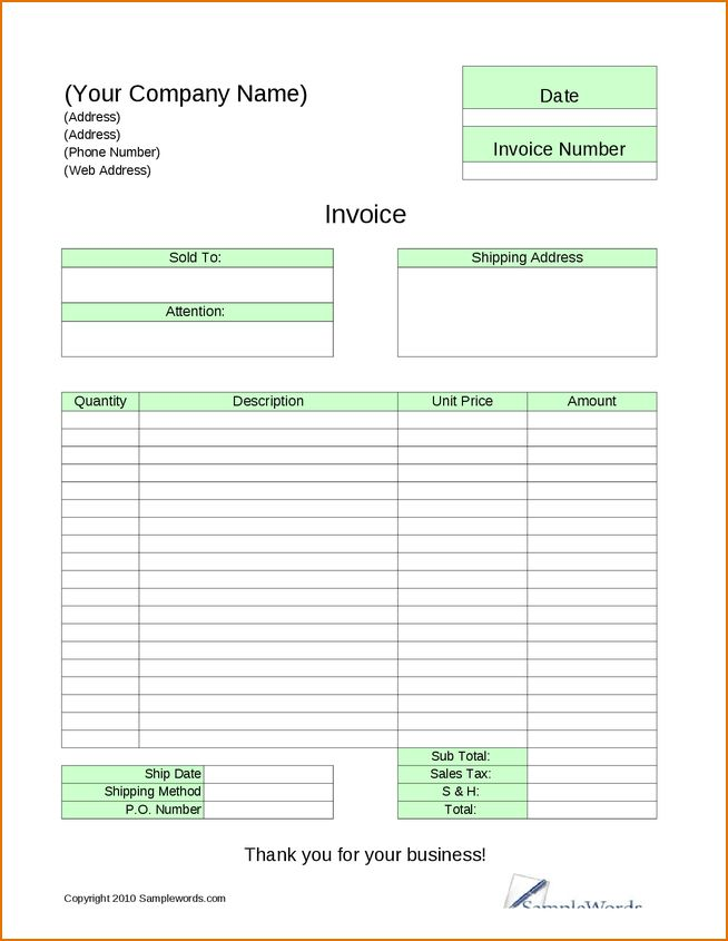 5 standard invoice template | Printable Receipt