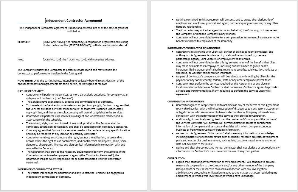 Independent Contractor Agreement Template | Microsoft Word Templates