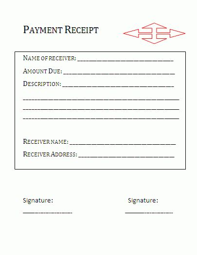Payment Receipt Template | Formsword: Word Templates & Sample Forms