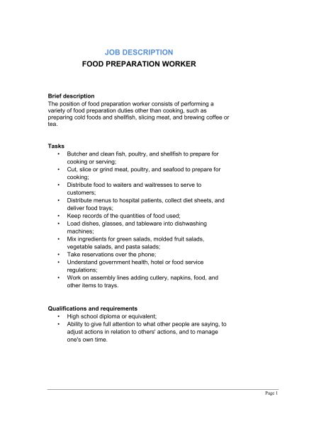sample resume for food service worker