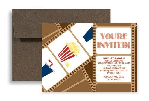 Movie Night Party Birthday Invitation Examples 7x5 in. Horizontal ...