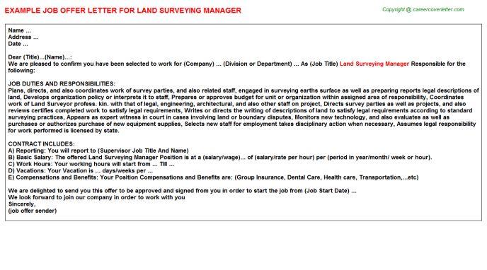 Land Surveying Manager Offer Letter