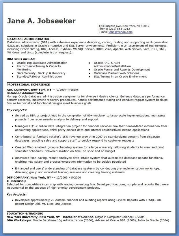 sql dba resume sample resume cv cover letter. find the best db2 ...
