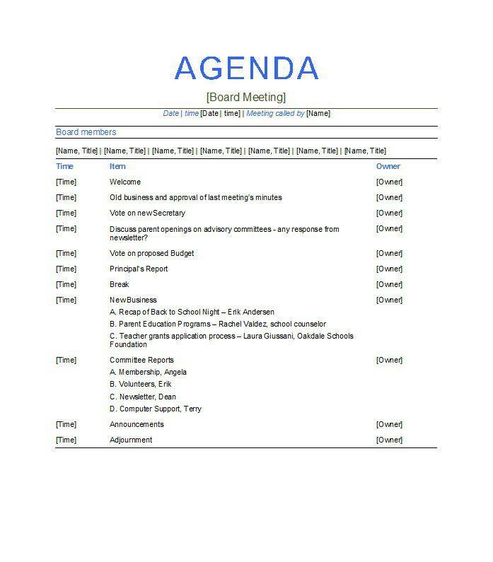 5+ Meeting Agenda Template – Free Download!!