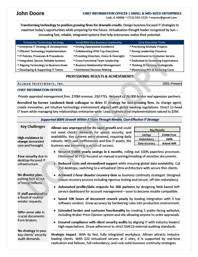 CIO Resume / Chief Information Officer Resume Samples | Mary ...