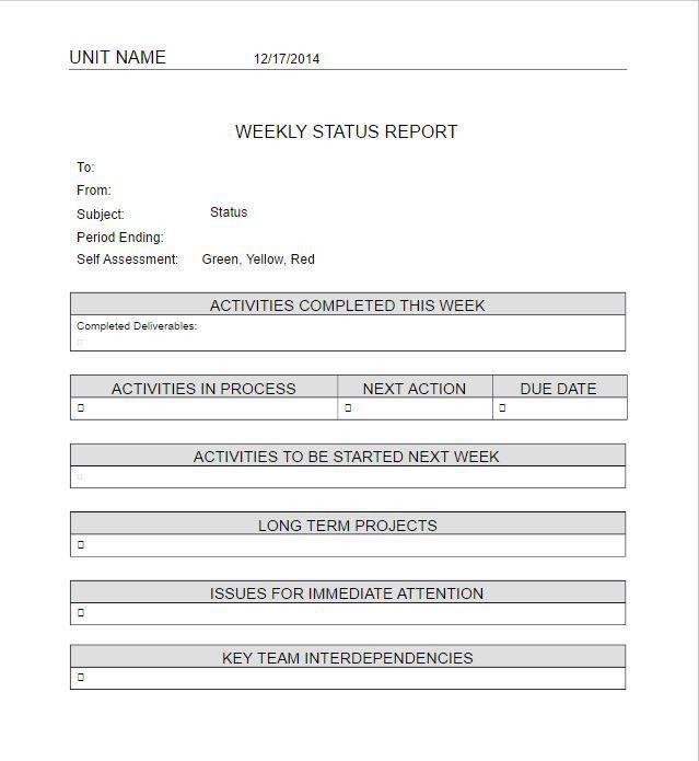 Weekly Status Report Example] Weekly Status Report Template 9