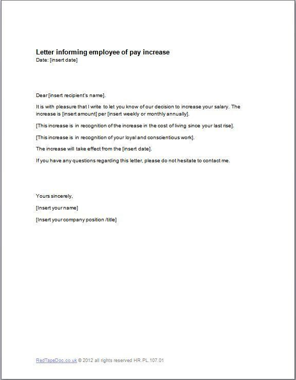 Pay Rise Letter To Employee - Template Examples