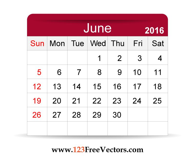 Download Free Vector 2016 Calendar June Printable Template Design ...