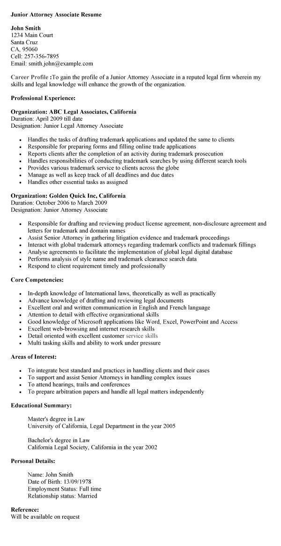 sample associate attorney resumes