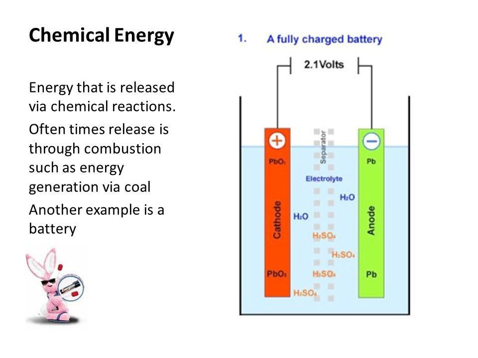 Chemical Energy Energy that is released via chemical reactions ...