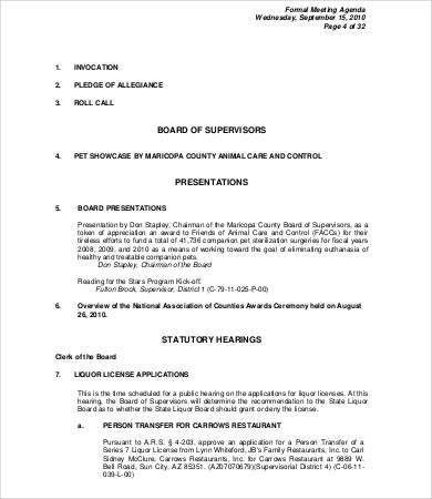 9+ Meeting Agenda Samples - Free Sample, Example, Format | Free ...