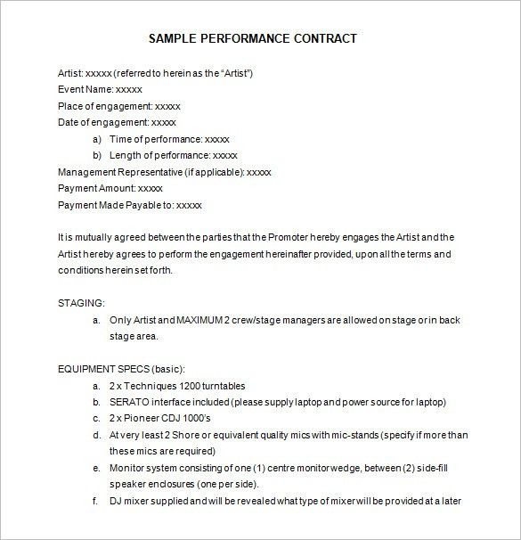 7+ Performance Contract Templates – Free Word, PDF Documents ...