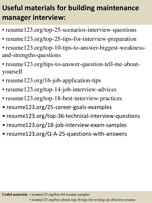 top 8 building maintenance manager resume samples - Building Maintenance Resume Sample