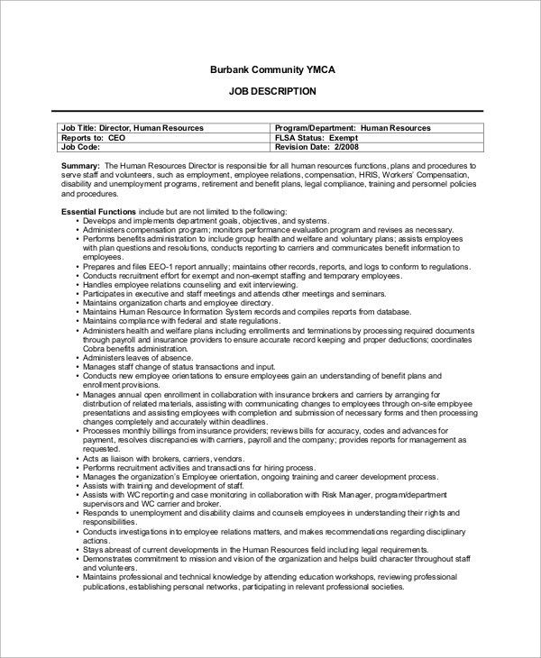 human resources director job description hr manager resume human