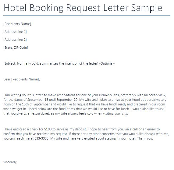 Hotel Booking Request Letter - Writing Professional Letters