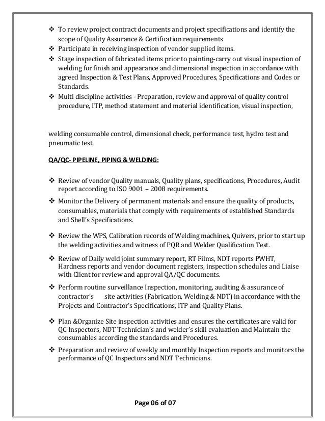 Quality Control Inspector Resume Sample Quality Control Inspector