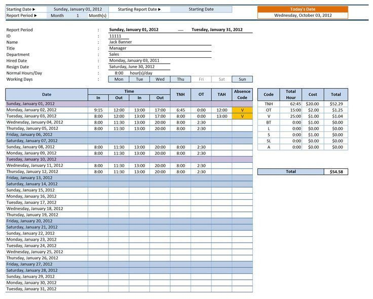 Employee Timesheet. Blank Hourly Employee Timesheet Template ...