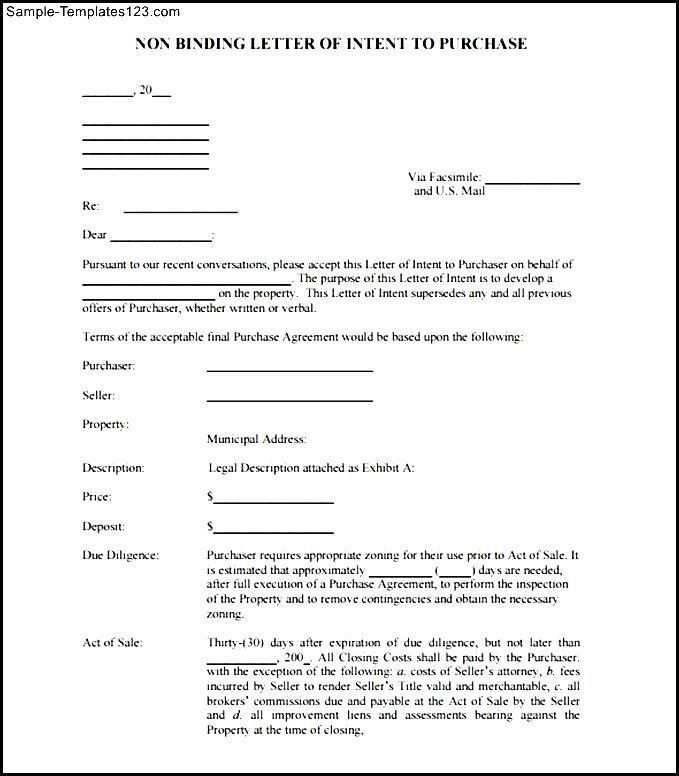 non binding letter of intent sample – Letter Format Writing
