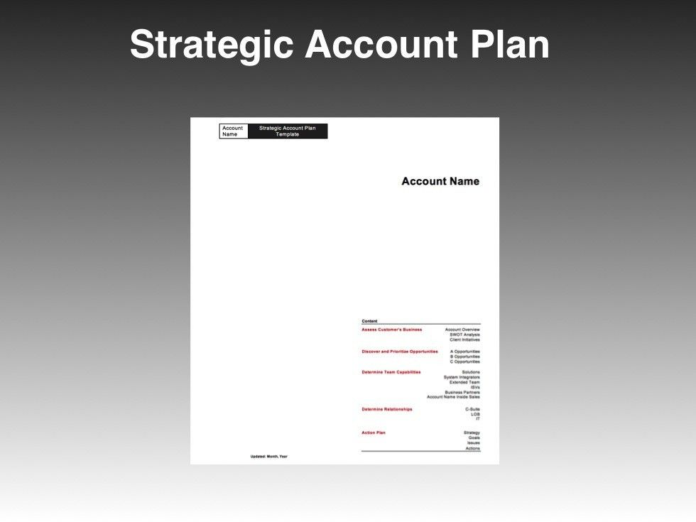 Strategic Account Plan Template - Four Quadrant Go to Market ...